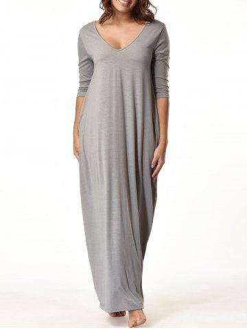 Trendy Baggy V Neck Floor Length Dress