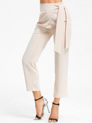 Hot Tie Up High Wasited Pants - L BEIGE Mobile