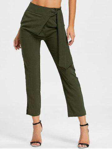 Fancy Tie Up High Wasited Pants ARMY GREEN L