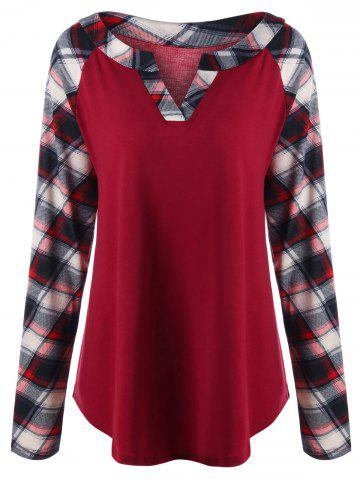 Store Plus Size Raglan Sleeve Plaid T-shirt - 4XL RED Mobile