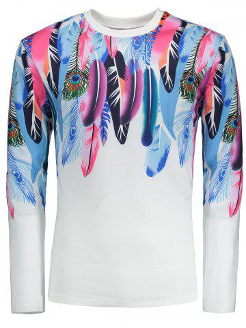 Latest Long Sleeves Colorful Feathers Pattern T-shirt - M WHITE Mobile