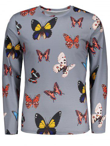 Sale Long Sleeves Colorful Butterflies Pattern T-shirt
