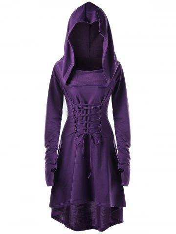 Online Hooded Lace Up High Low Dress - M PURPLE Mobile