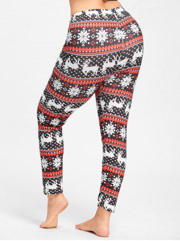 Latest Christmas Snowflake Elk Plus Size Leggings BLACK&RED XL