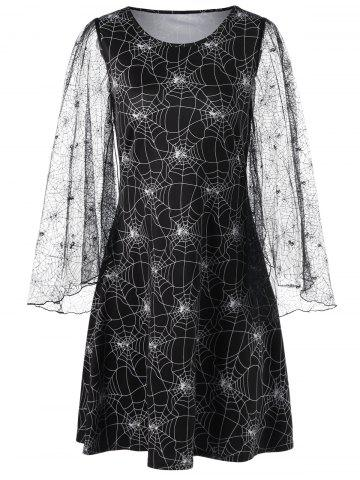 Trendy Halloween Spider Web Print Lace Sleeve Dress