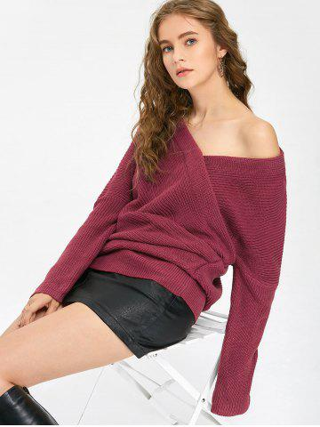 Buy Off The Shoulder Ruched Sweater PURPLISH RED ONE SIZE