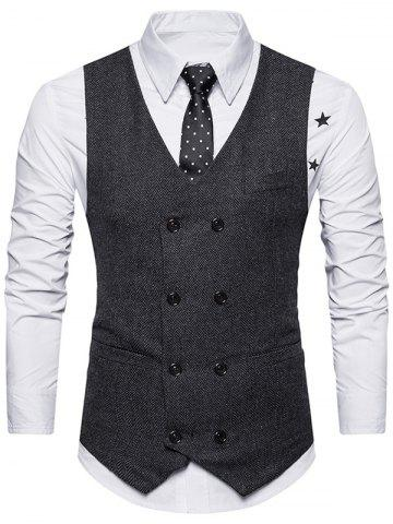 Chic Double Breasted Belt Design Waistcoat