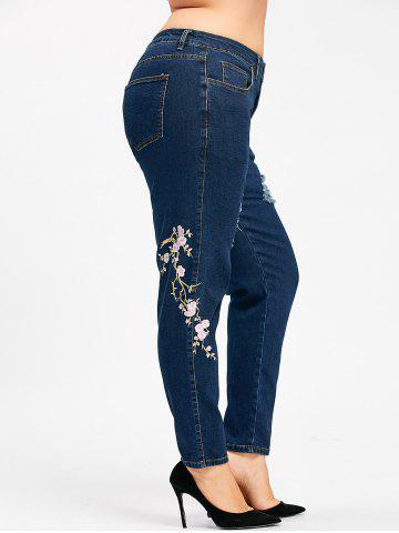 New Plus Size Zipper Floral Embroidered Jeans