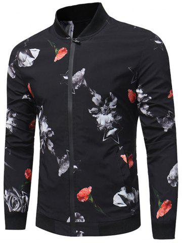 Zip Up Carnation Print Bomber Jacket