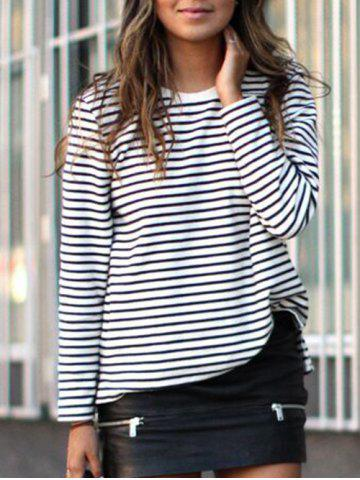 Crew Neck Striped Long Sleeve Tee