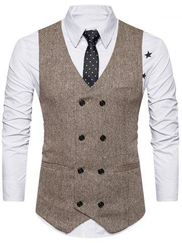 New Double Breasted Belt Design Waistcoat