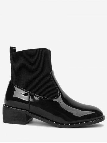 Trendy Ankle Low Heel Rivets Splicing Boots