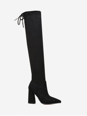 Fancy Pointed Toe Block Heel Thigh High Boots