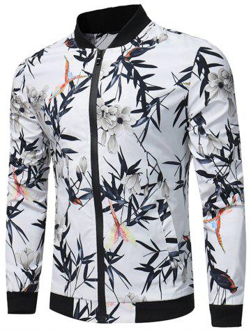 Zip Up Bird and Flower Print Jacket