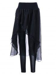 Chiffon Irregular Skirted Leggings - BLACK M