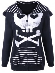 Halloween Skull Hooded Striped Panel Jacket -