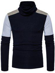 Cowl Neck Knit Color Block Sweater -