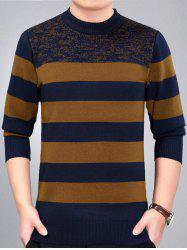 Stripe Pattern Crew Neck Sweater -