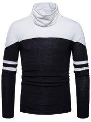 Color Block Cowl Neck Varsity Stripe Sweater -