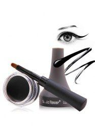 Smudge-Proof Long Lasting Gel Eyeliner With Brush - BLACK