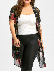 Floral Kimono Cardigan - Black, Sheer And Long Cheap With Free ...