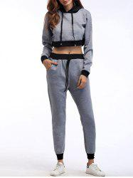 Crop Hoodie and Jogger Sport Pants - GRAY S