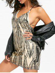 Night Out Backless Sequins Robe Cami - Noir L