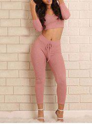 Cropped Hoodie with Skinny Pants - NUDE PINK L