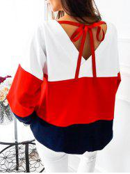 V Back Tied Color Block Sweatshirt - Rouge S