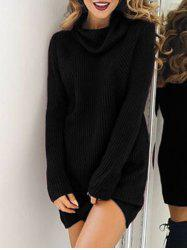 Turtleneck Sweater Shift Dress - BLACK S