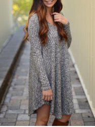 V Neck Marled Knit Casual Dress - GRAY M