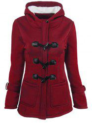 Hooded Duffle Coat with Front Pockets - WINE RED S