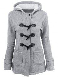 Hooded Duffle Coat with Front Pockets - LIGHT GRAY 2XL