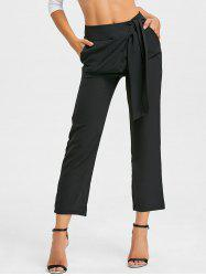 Tie Up High Wasited Pants - BLACK XL