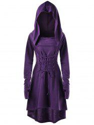 Hooded Lace Up High Low Dress - PURPLE M