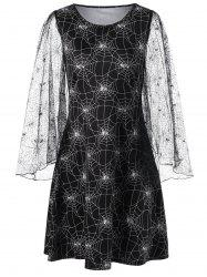 Halloween Spider Web Print Lace Sleeve Dress -