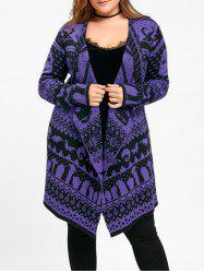 Halloween Plus Size Skull Sweater Drape Cardigan -