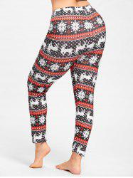 Christmas Snowflake Elk Plus Size Leggings -