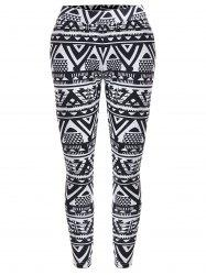 Geometric Print Christmas High Waisted Leggings -