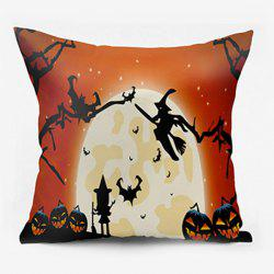 Halloween Witch Pumpkin Lamp Moon Oreiller -