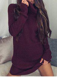 Turtleneck Sweater Shift Dress -
