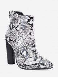 Ankle Pointed Toe Snake Print Boots -