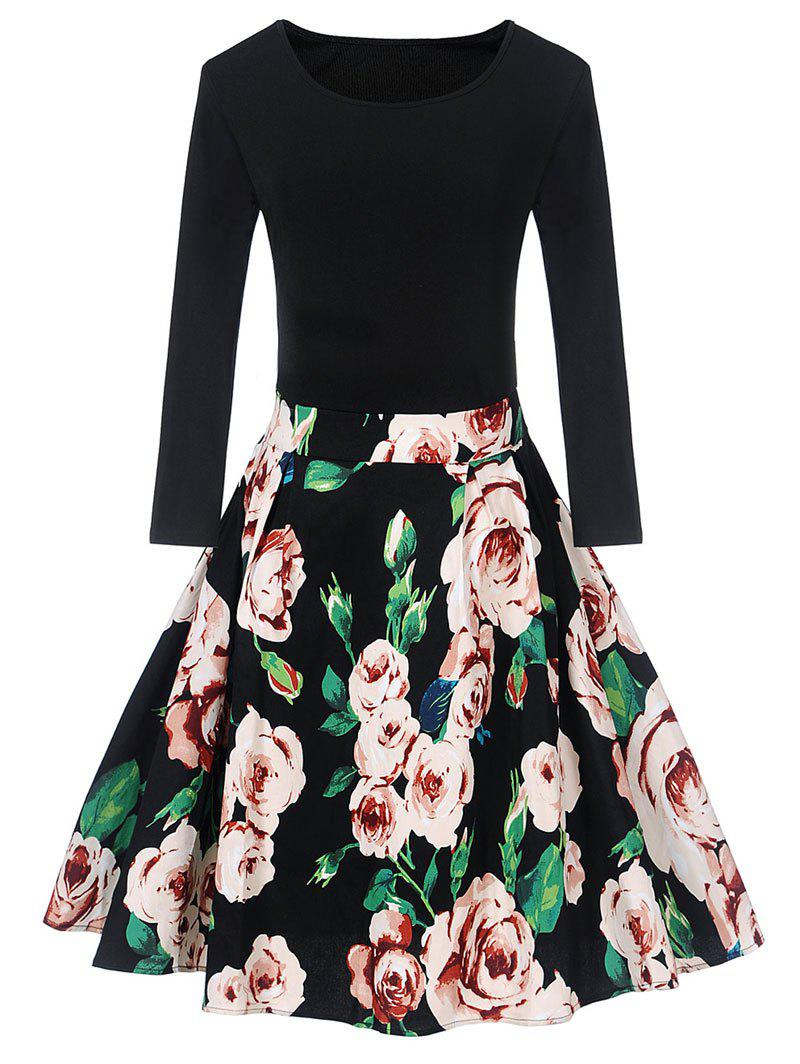 Vintage Floral Print Pin Up Swing DressWOMEN<br><br>Size: 2XL; Color: BLACK; Style: Vintage; Material: Polyester,Spandex; Silhouette: A-Line; Dresses Length: Knee-Length; Neckline: Round Collar; Sleeve Length: Long Sleeves; Pattern Type: Floral; With Belt: No; Season: Fall,Spring; Weight: 0.3500kg; Package Contents: 1 x Dress;