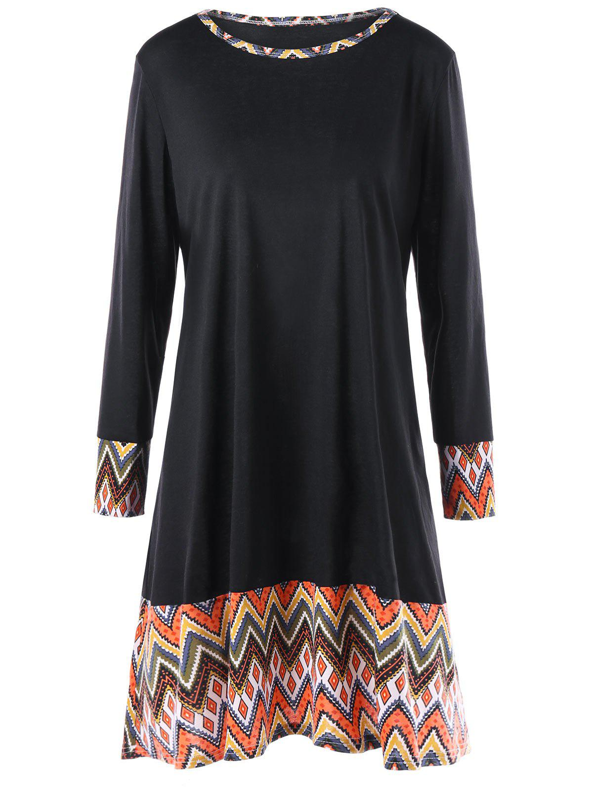 Bohemian Chevron Print Panel Plus Size DressWOMEN<br><br>Size: 5XL; Color: BLACK; Style: Bohemian; Material: Polyester,Spandex; Silhouette: A-Line; Dresses Length: Knee-Length; Neckline: Round Collar; Sleeve Type: Cuff Sleeve; Sleeve Length: Long Sleeves; Waist: Dropped; Embellishment: Panel; Pattern Type: Chevron/Zig Zag; Elasticity: Micro-elastic; With Belt: No; Season: Fall,Spring,Winter; Weight: 0.3500kg; Package Contents: 1 x Dress;