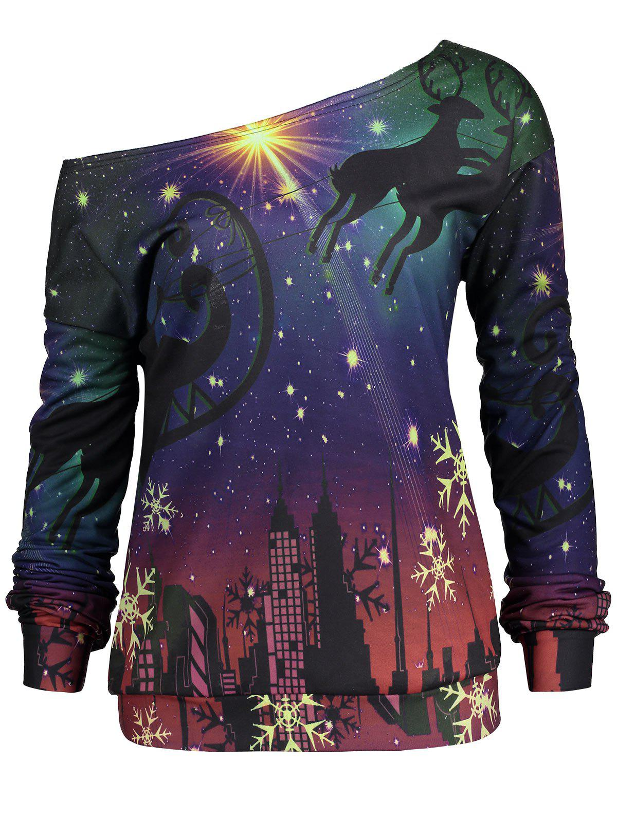 Christmas Party Elk Snowflake Plus Size SweatshirtWOMEN<br><br>Size: 4XL; Color: PURPLE; Material: Polyester,Spandex; Shirt Length: Regular; Sleeve Length: Full; Style: Novelty; Pattern Style: Others; Season: Fall,Spring; Weight: 0.3200kg; Package Contents: 1 x Sweatshirt;