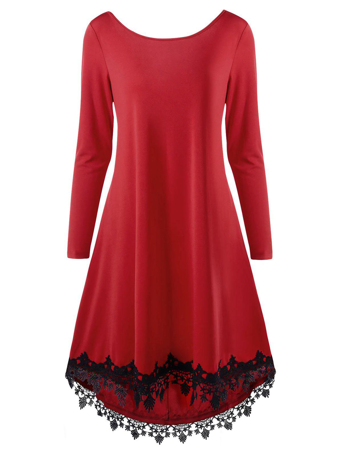 Open Back High Low Lace Trim DressWOMEN<br><br>Size: 2XL; Color: RED; Style: Casual; Material: Polyester,Spandex; Silhouette: A-Line; Dresses Length: Knee-Length; Neckline: Round Collar; Sleeve Length: Long Sleeves; Embellishment: Bowknot,Pearls; Pattern Type: Solid Color; With Belt: No; Season: Fall,Spring; Weight: 0.4670kg; Package Contents: 1 x Dress; Occasion: Casual;