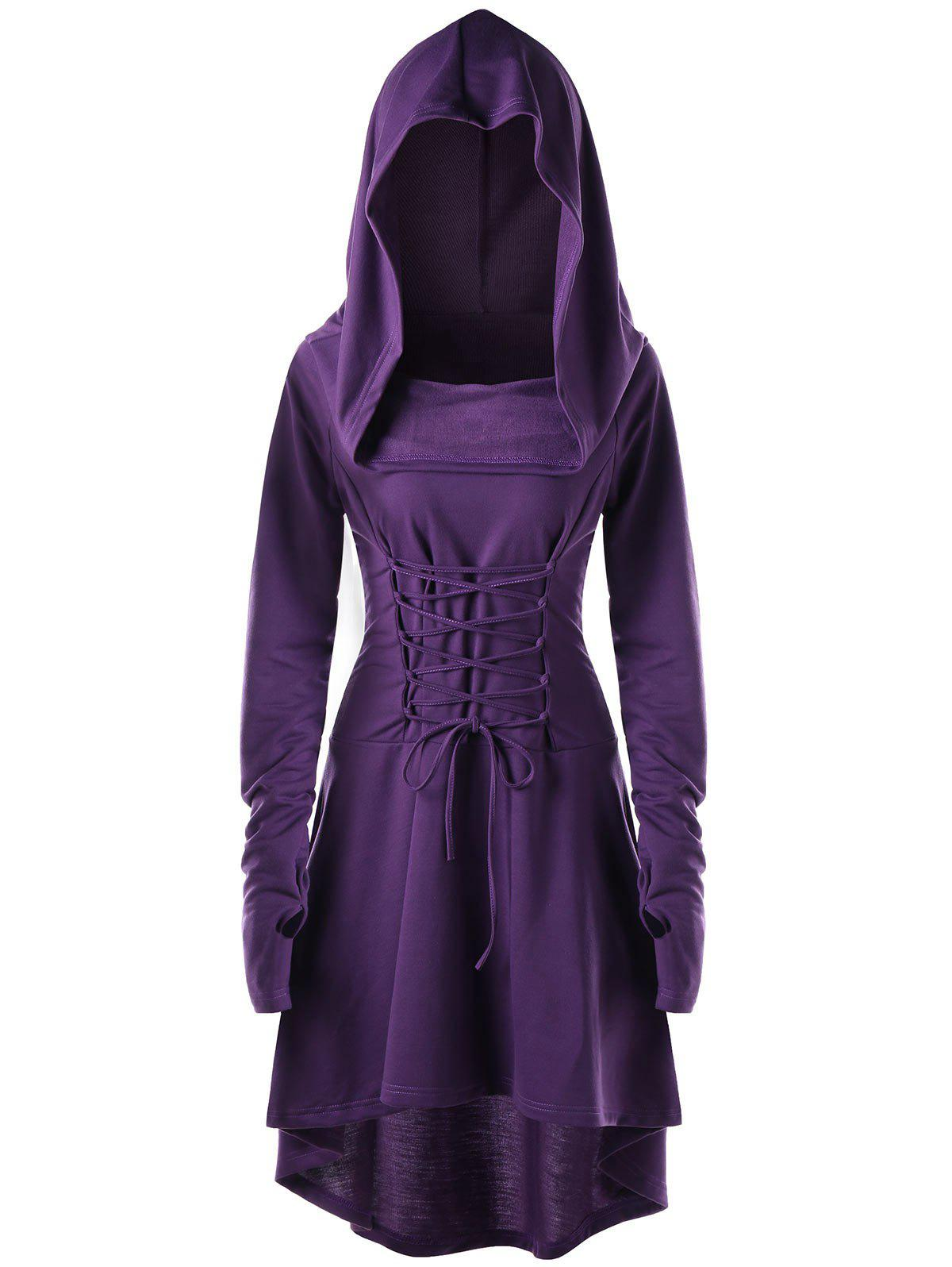 Hooded Lace Up High Low DressWOMEN<br><br>Size: L; Color: PURPLE; Style: Novelty; Material: Polyester,Spandex; Silhouette: Asymmetrical; Dresses Length: Mid-Calf; Neckline: Hooded; Sleeve Length: Long Sleeves; Embellishment: Criss-Cross; Pattern Type: Solid; With Belt: No; Season: Fall,Spring; Weight: 0.5500kg; Package Contents: 1 x Dress;