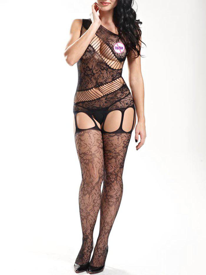 New Sheer Fishnet One Shoulder Bodystockings