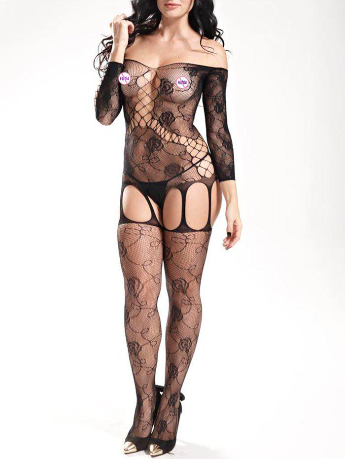 Off The Shoulder Fishnet BodystockingsWOMEN<br><br>Size: ONE SIZE; Color: BLACK; Material: Polyester; Pattern Type: Solid; Embellishment: Hollow Out; Weight: 0.1900kg; Package Contents: 1 x Bodystockings;