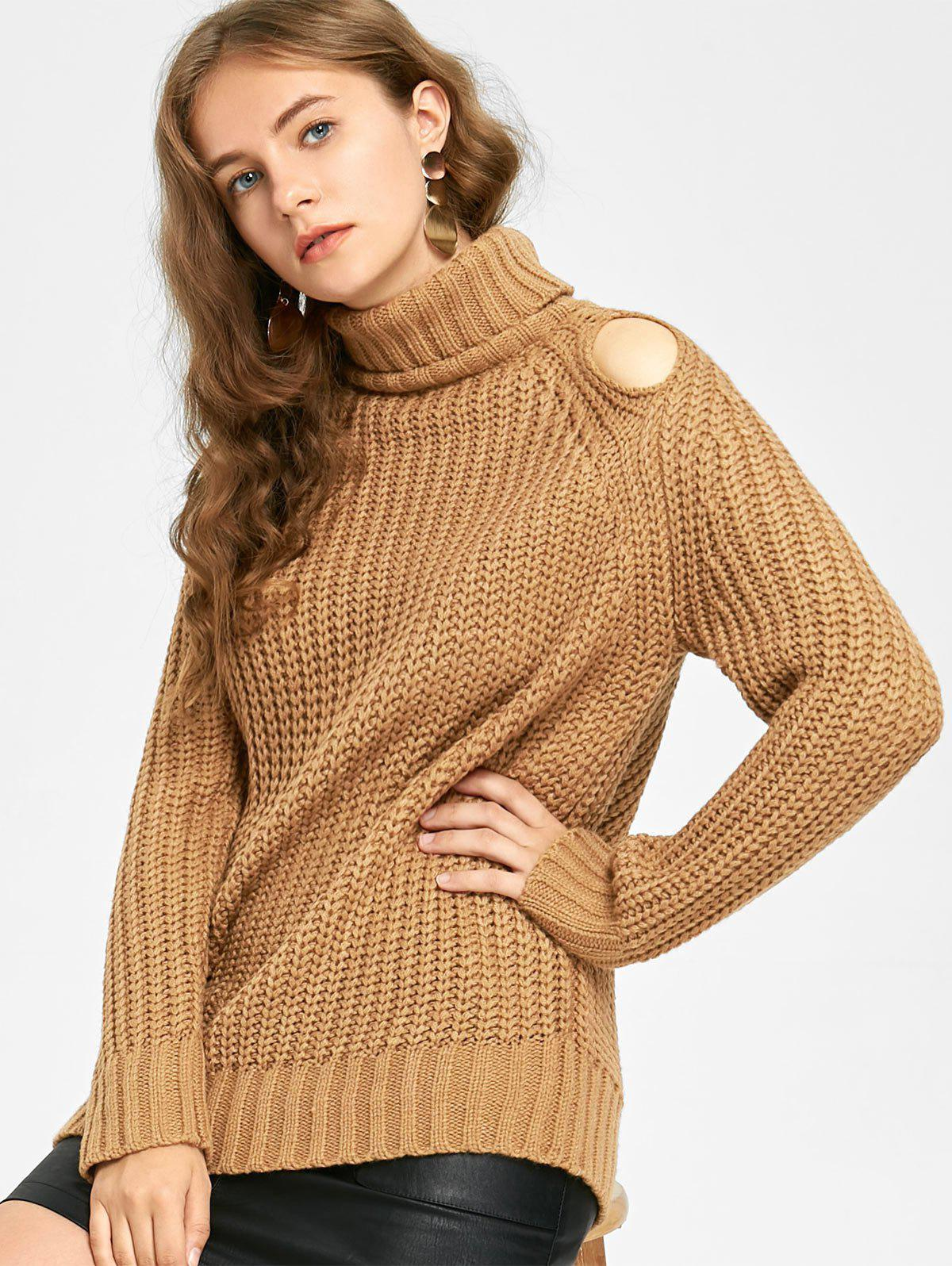 Fancy Turtleneck Cut Out Chunky Sweater